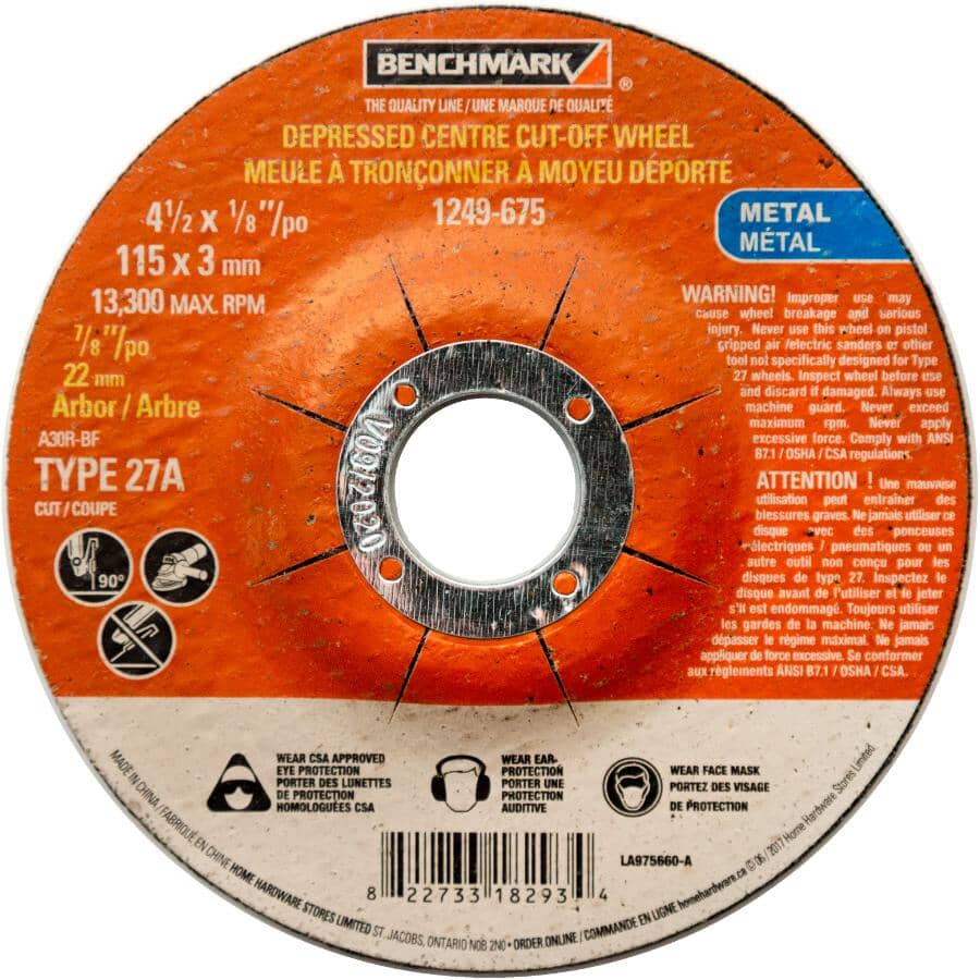 "BENCHMARK:4.5"" x 1/8"" x 7/8"" Depressed Centre Metal Cut-Off Wheel"