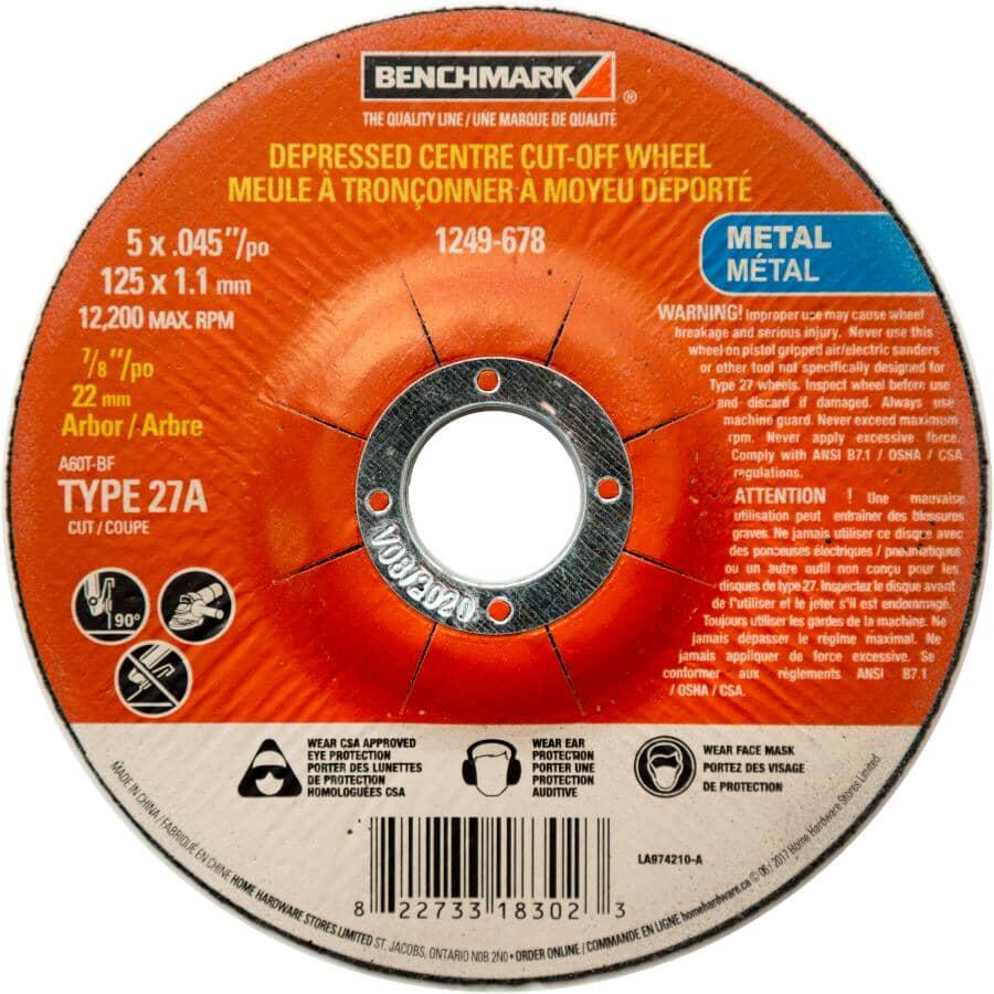 "BENCHMARK:5"" x 0.045"" x 7/8"" Depressed Centre Metal Cut-Off Wheel"