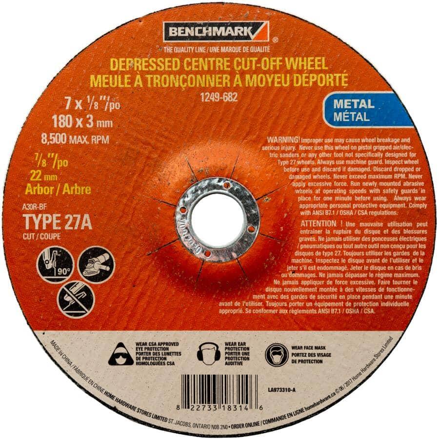 "BENCHMARK:7"" x 1/8"" x 7/8"" Depressed Centre Metal Cut-Off Wheel"