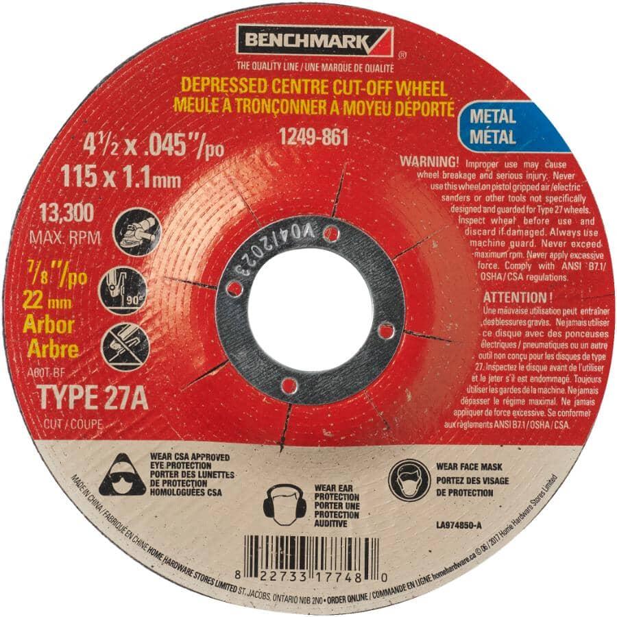 "BENCHMARK:4-1/2"" x .045"" x 7/8""  Metal Depressed Center Cut-Off Wheel"