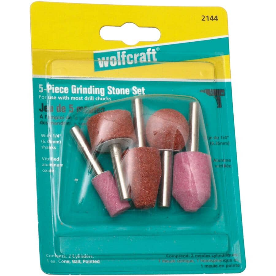 WOLFCRAFT:5 Piece Grinding Stone Set, Assorted Grit and Shape