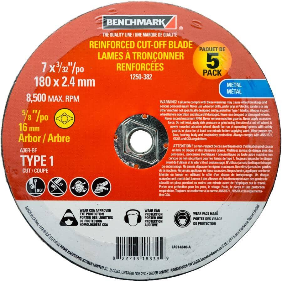 "BENCHMARK:5 Pack 7"" x 3/32"" x 5/8"" Metal Cut-Off Wheels"