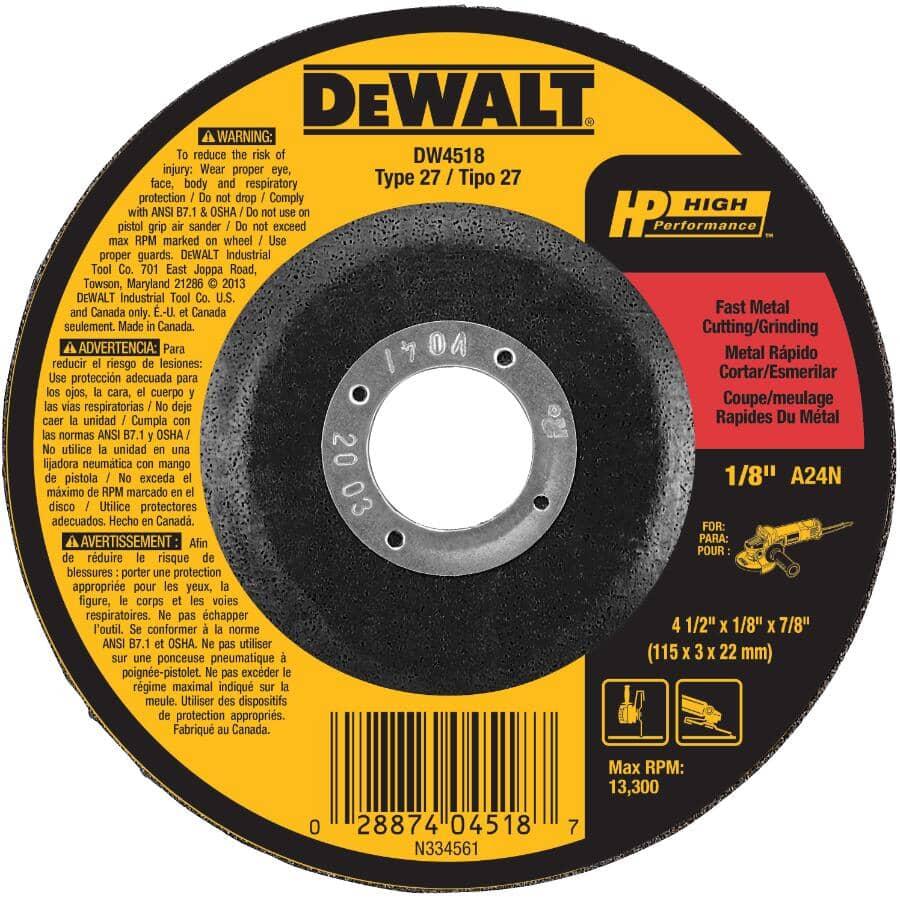 "DEWALT:4-1/2"" x 1/8"" x 7/8"" Metal Cut-Off Wheel"