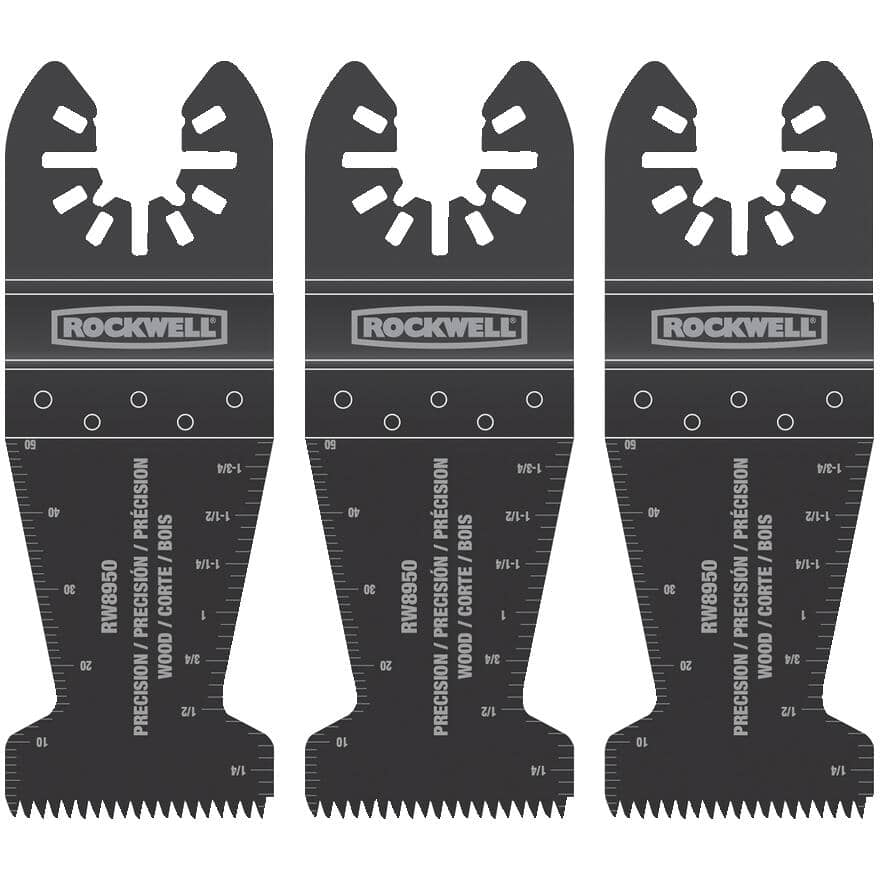 """ROCKWELL:3 Pack 1-3/8"""" Universal Wood End Cut Blades"""