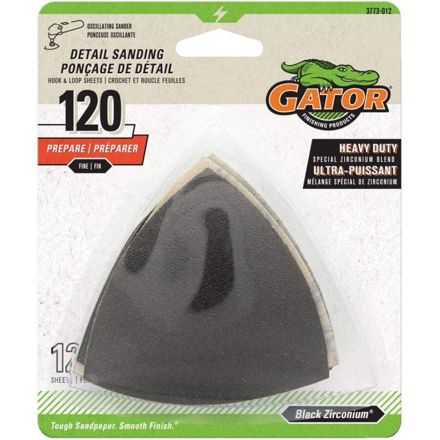 """GATOR:Zirconium 3"""" Triangle Sandpaper - 120 Grit, 12 Pack"""