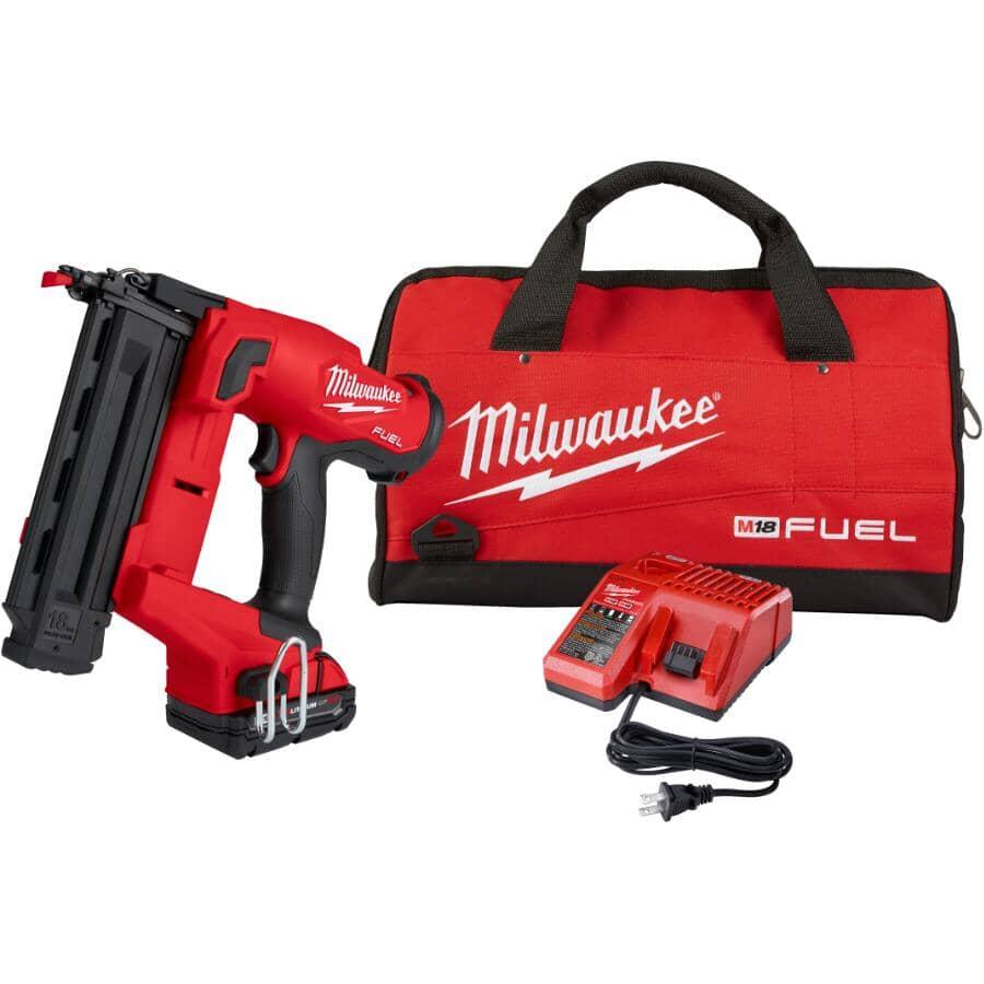 MILWAUKEE:M18 Fuel Cordless Brad Nailer Kit - with Battery, Charger & Tool Bag, 18 Gauge