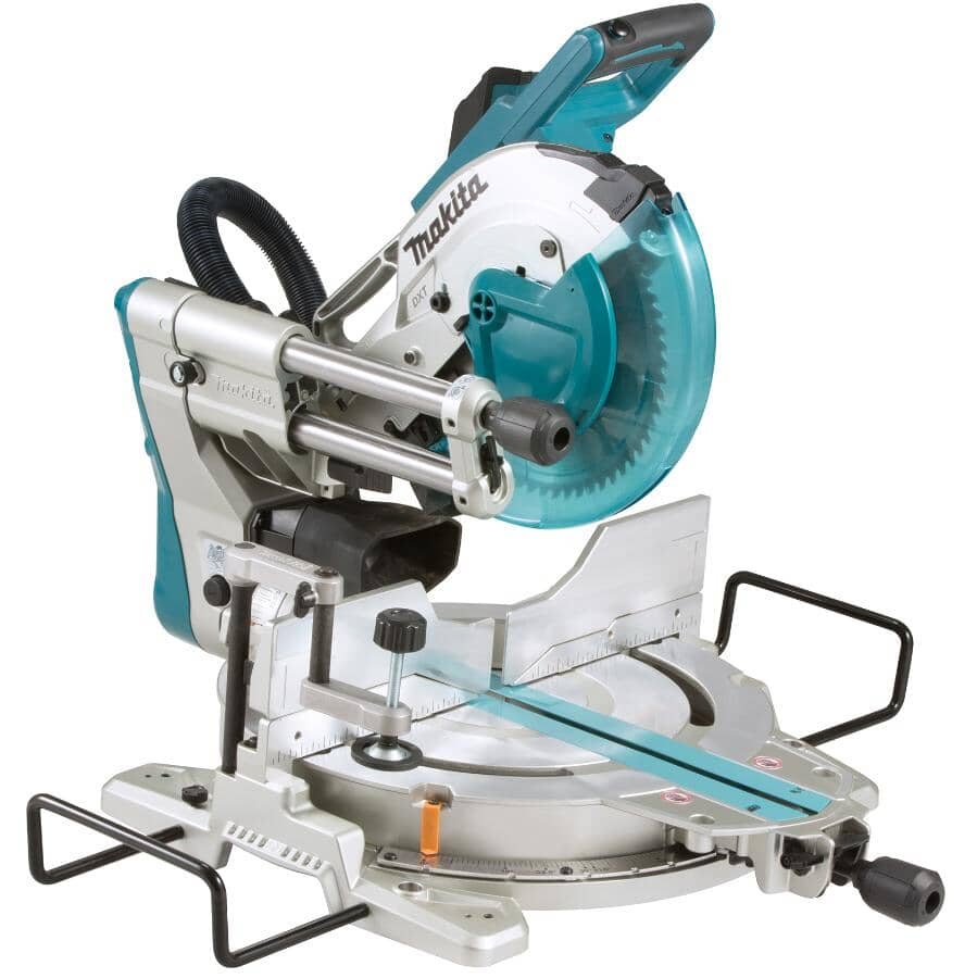 """MAKITA:10"""" 15 Amp Sliding Compound Mitre Saw - Dual Bevel + Laser Cutting Guide"""