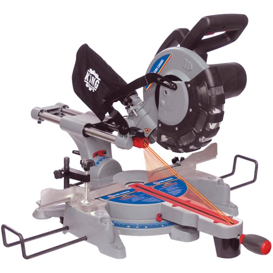 """KING CANADA:10"""" 15 Amp Sliding Compound Mitre Saw, with Twin Laser"""