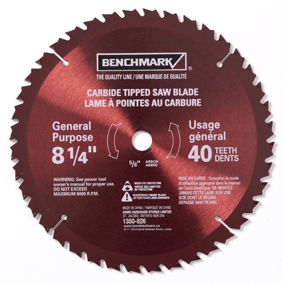 "BENCHMARK:8-1/4"" 40 Tooth Carbide Tipped Circular Saw Blade"