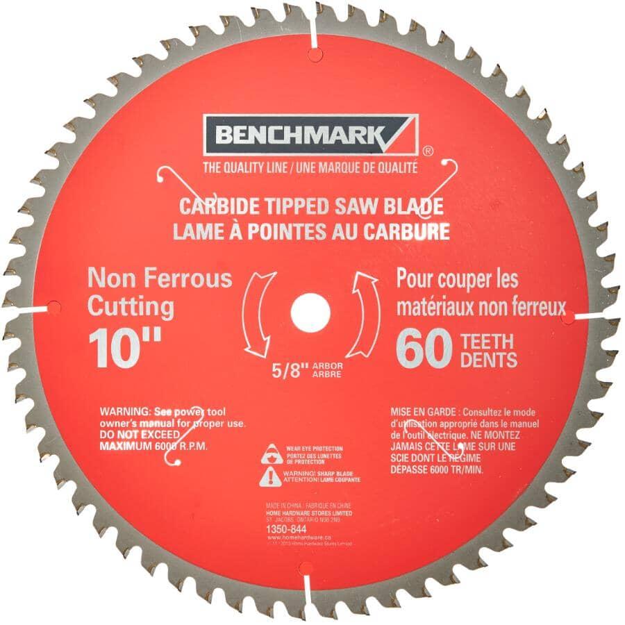 """BENCHMARK:10"""" 60 Tooth Carbide Circular Saw Blade"""