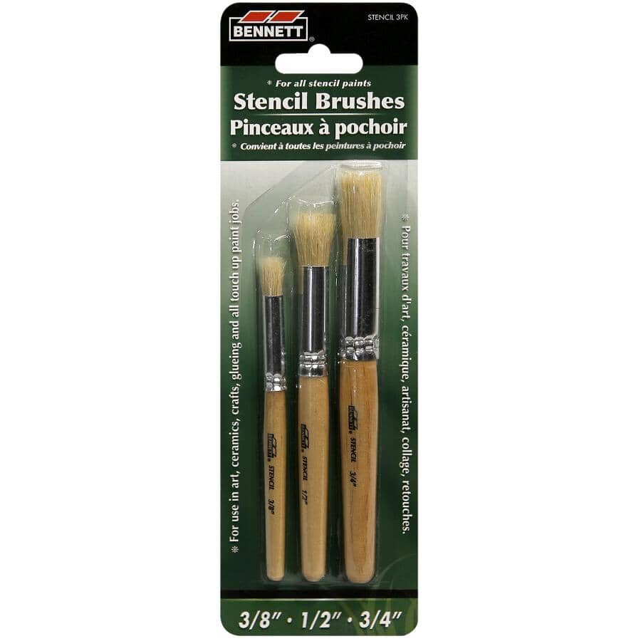 BENNETT:Stencil Hobby Brushes - Assorted Sizes, 3 Pack