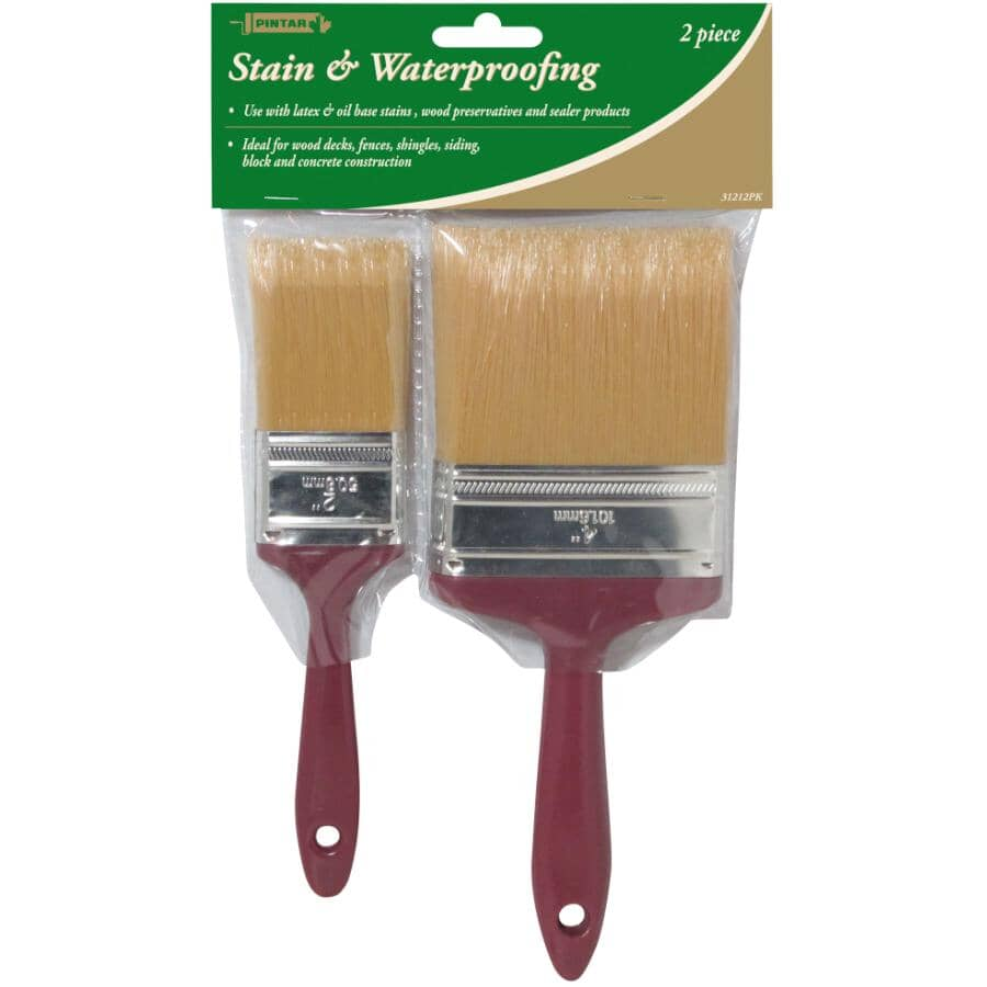 PINTAR:Stain & Waterproofing Polyester Brush Set - 2 Pieces