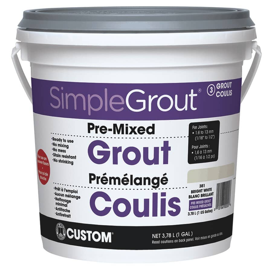 SIMPLEGROUT:#381 Bright White Pre-Mixed Grout - 3.78 L