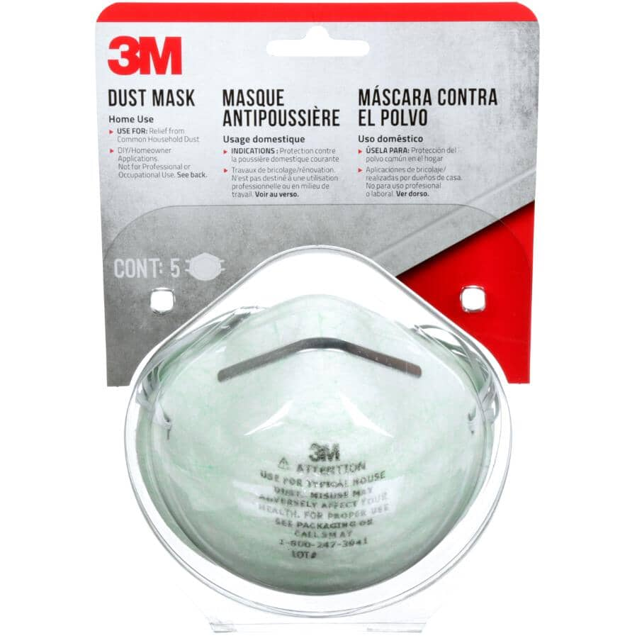 3M TEKK:Paquet de 5 masques antipoussière à usage domestique