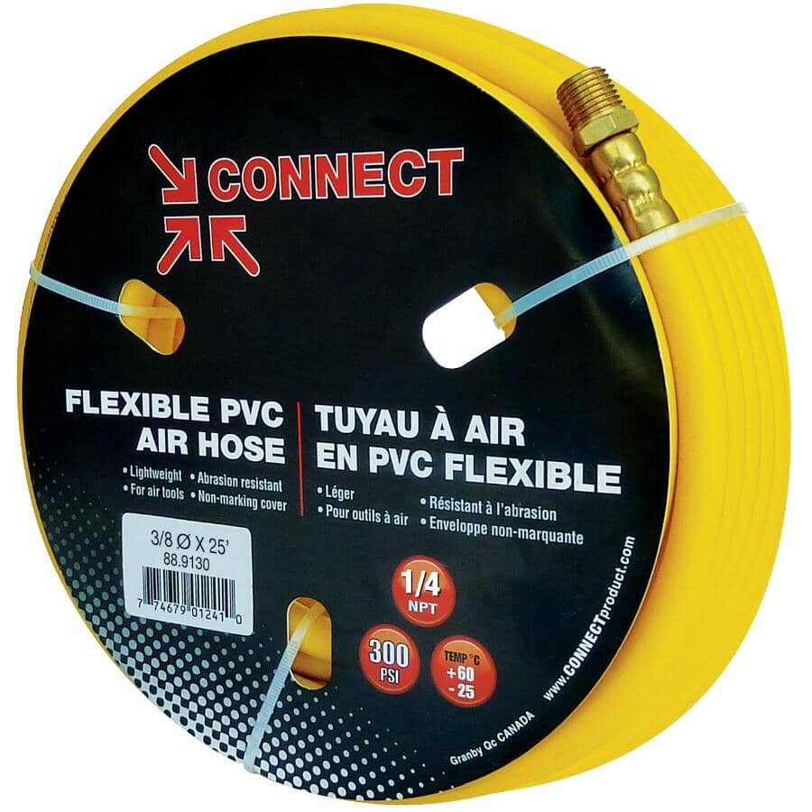 "CONNECT:3/8"" x 25' x 1/4"" National Pipe Thread PVC Yellow Air Hose"