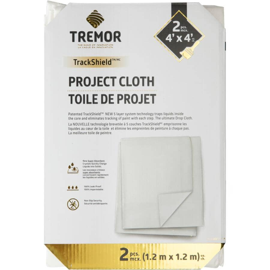 TREMOR:Non-Slip Drop Cloth - 4' x 4', 2 Pack