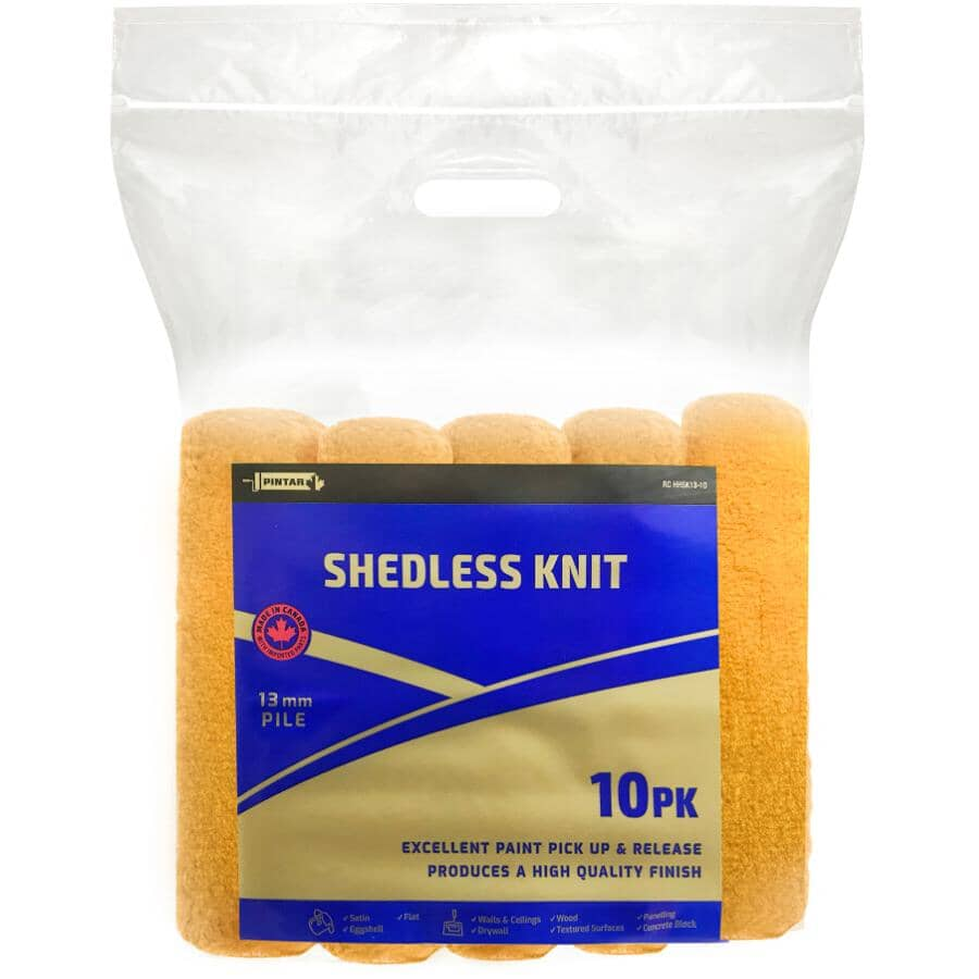 PINTAR SHEDLESS KNIT:Paint Roller Covers - 240 mm x 13 mm, 10 Pack