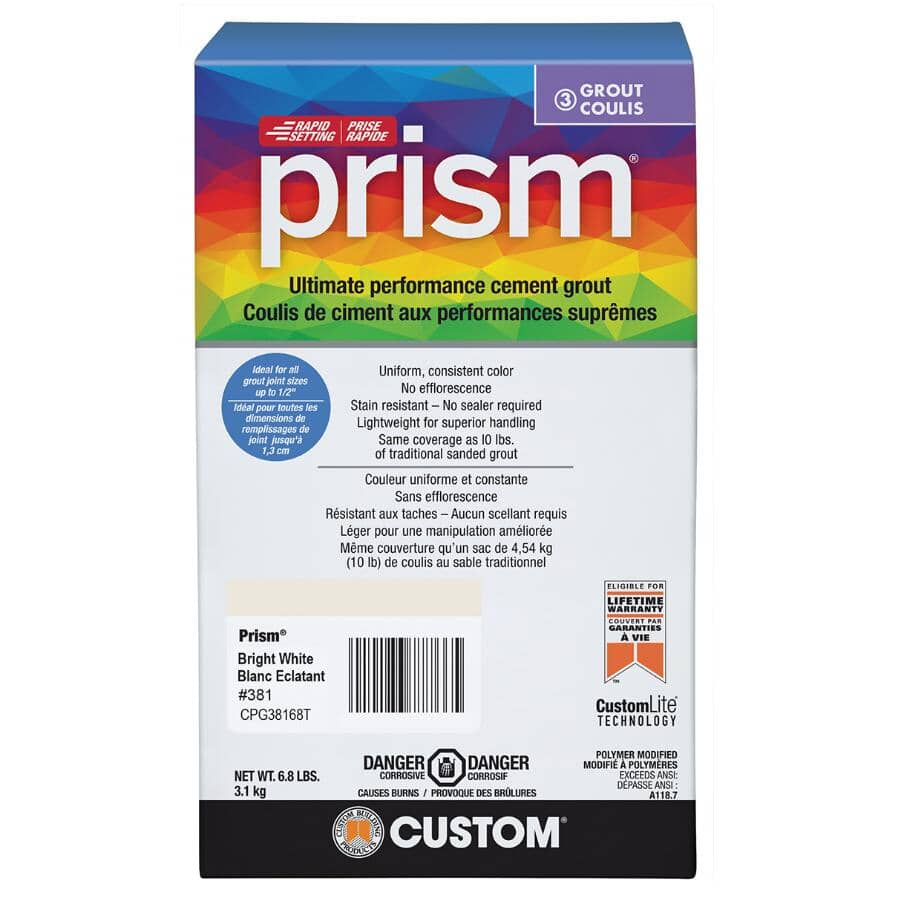 CUSTOM BUILDING PRODUCTS:Prism Ultimate Performance Cement Grout - #381 Bright White, 6.8 lb