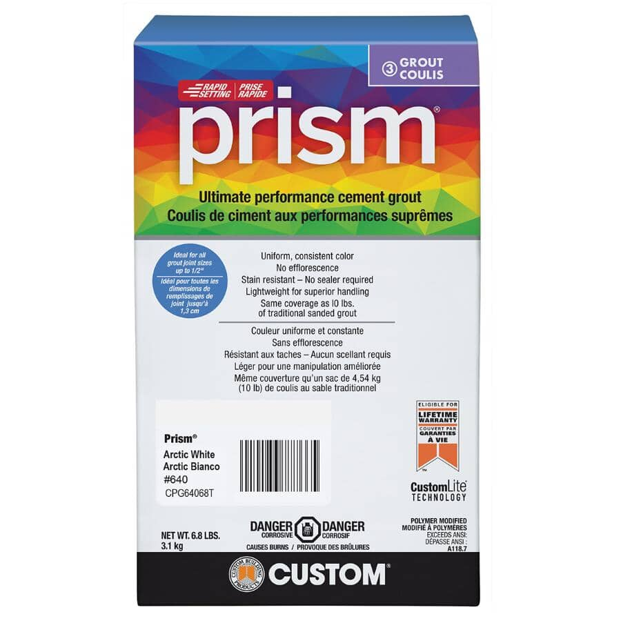 CUSTOM BUILDING PRODUCTS:Prism Floor & Wall Grout - # 640 Arctic White, 6.8 lb
