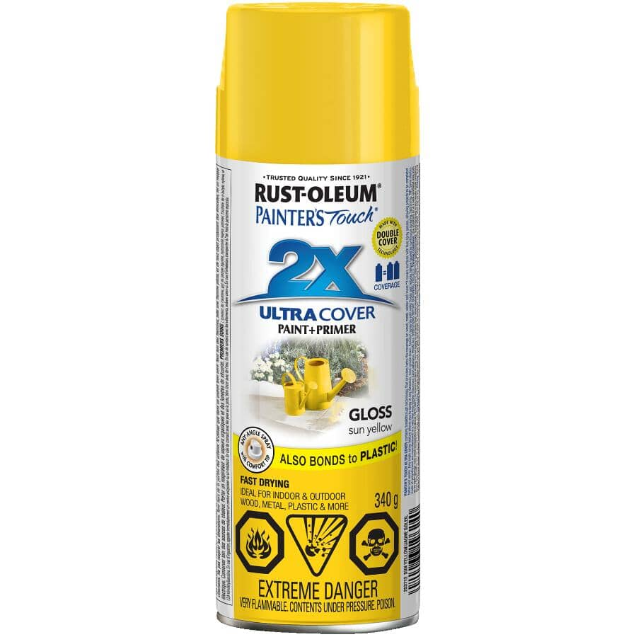 RUST-OLEUM:Painter's Touch 2X Ultra Cover Spray Paint - Gloss Yellow, 340 g
