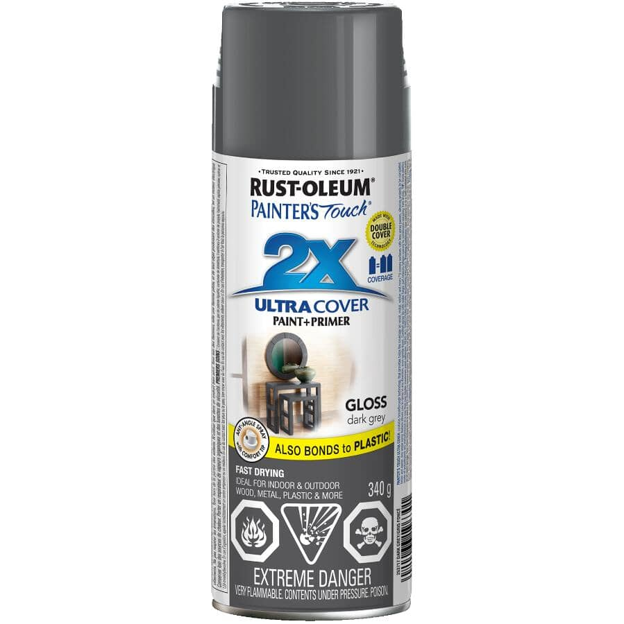 RUST-OLEUM:Painter's Touch 2X Ultra Cover Spray Paint - Gloss Grey, 340 g