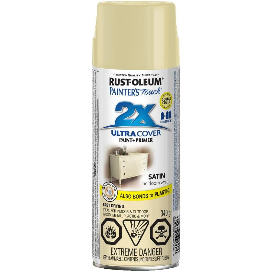 RUST-OLEUM:Painter's Touch 2X Ultra Cover Spray Paint - Satin White, 340 g