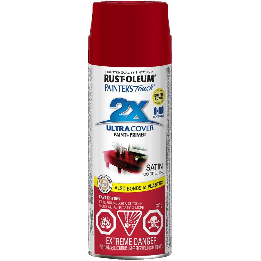 RUST-OLEUM:Painter's Touch 2X Ultra Cover Spray Paint - Satin Colonial Red, 340 g