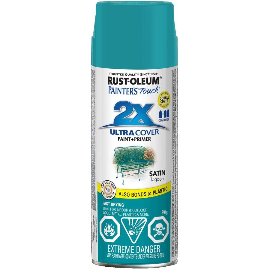 RUST-OLEUM:Painter's Touch 2X Ultra Cover Spray Paint - Satin Lagoon, 340 g