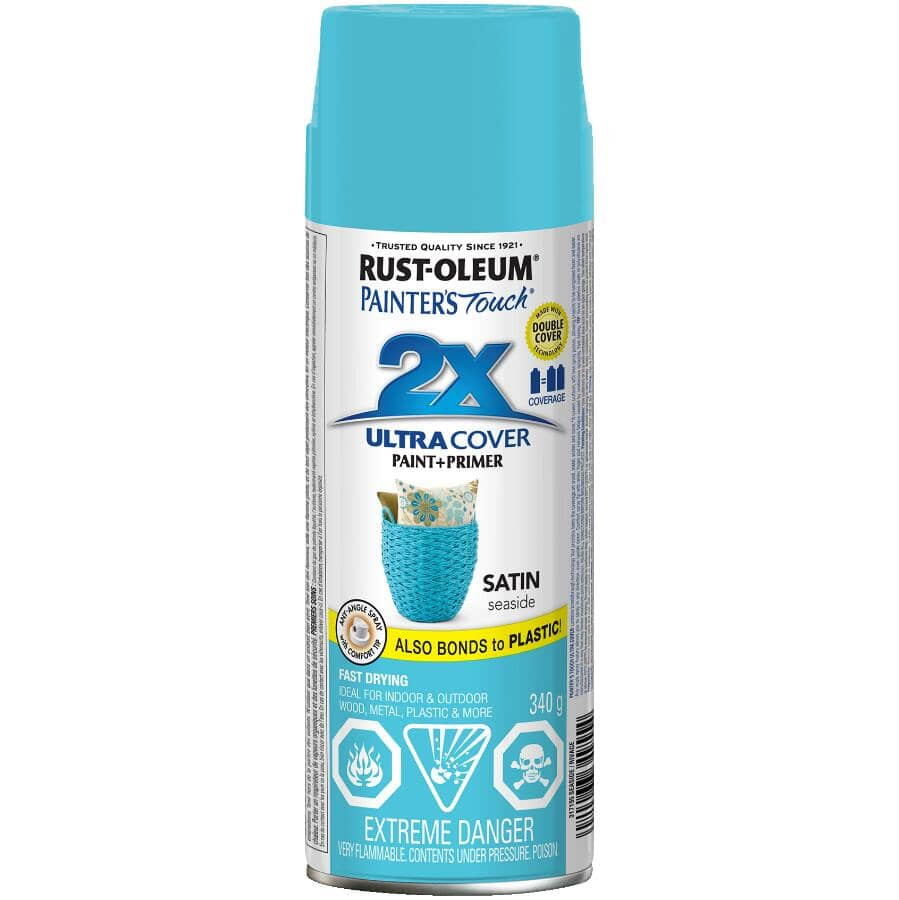 RUST-OLEUM:Painter's Touch 2X Ultra Cover Spray Paint - Satin Seaside Blue, 340 g