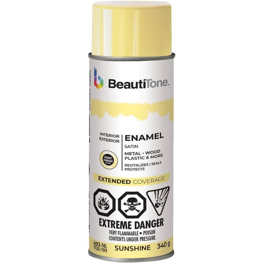 BEAUTI-TONE:Enamel Interior / Exterior Spray Paint - Satin Sunshine, 340 g