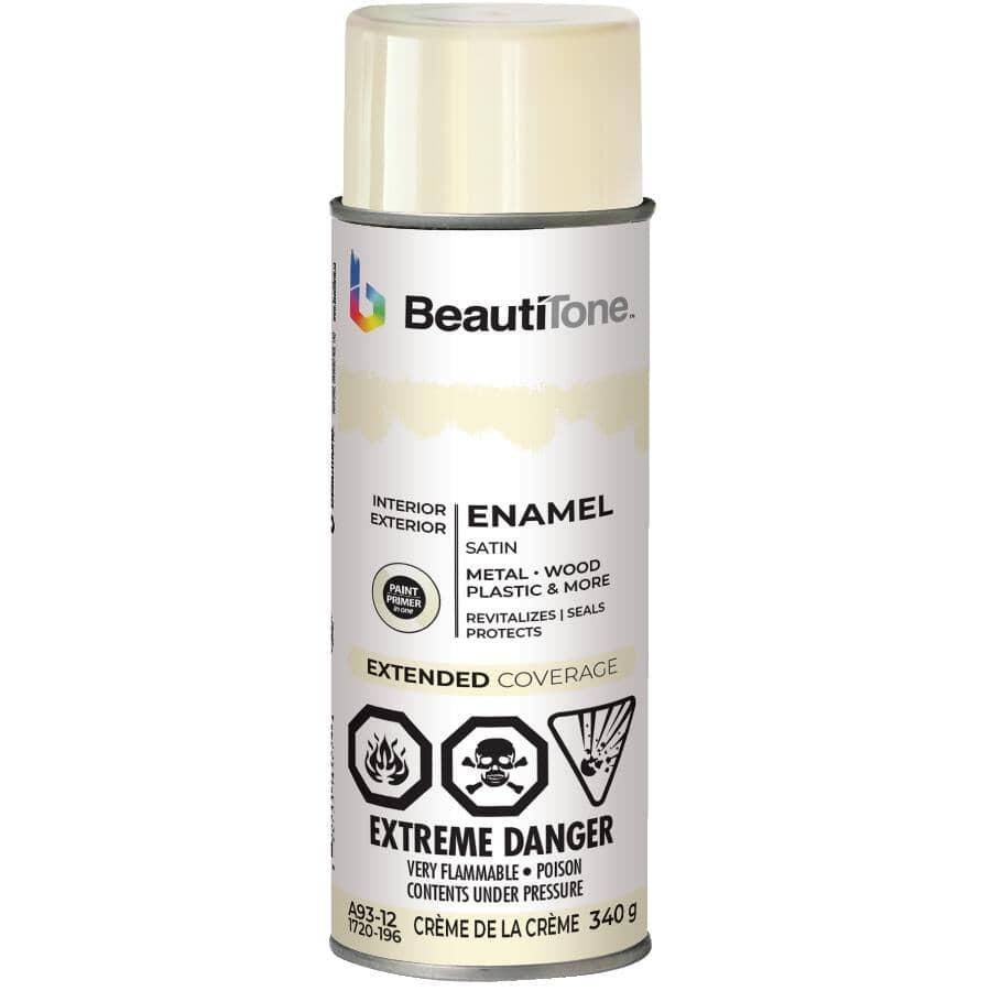 BEAUTI-TONE:Enamel Interior / Exterior Spray Paint - Satin Crème de la Creme, 340 g