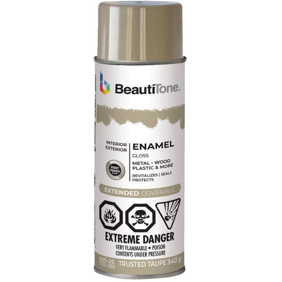BEAUTI-TONE:Enamel Interior / Exterior Spray Paint - Gloss Trusted Taupe, 340 g