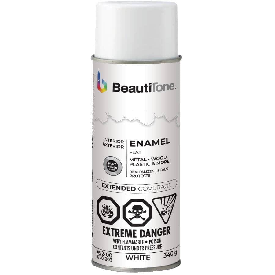 BEAUTI-TONE:Enamel Interior / Exterior Spray Paint - Flat White, 340 g