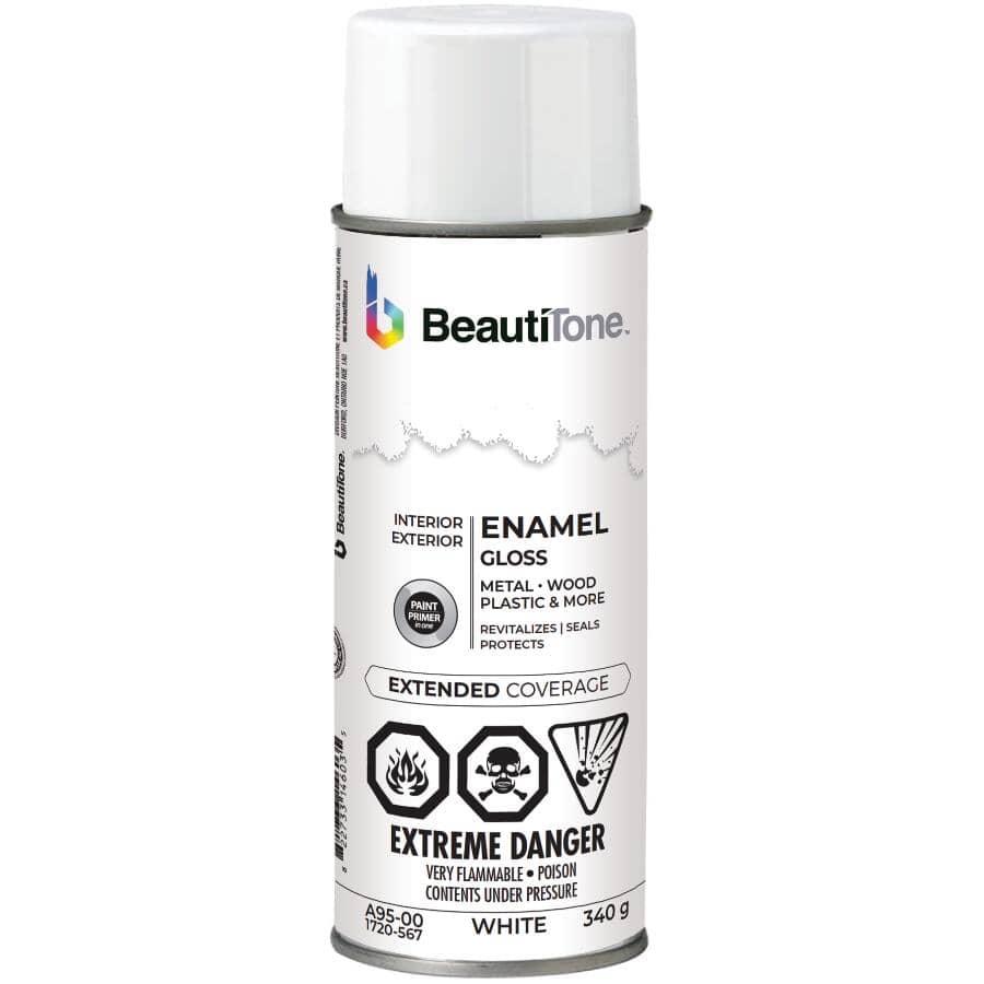 BEAUTI-TONE:Enamel Interior / Exterior Spray Paint - Gloss White, 340 g