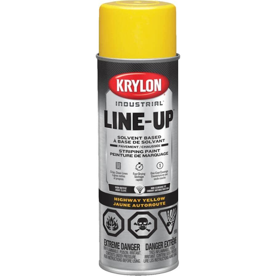 KRYLON:Professional Solvent-Based Striping Spray Paint - Highway Yellow, 510 g