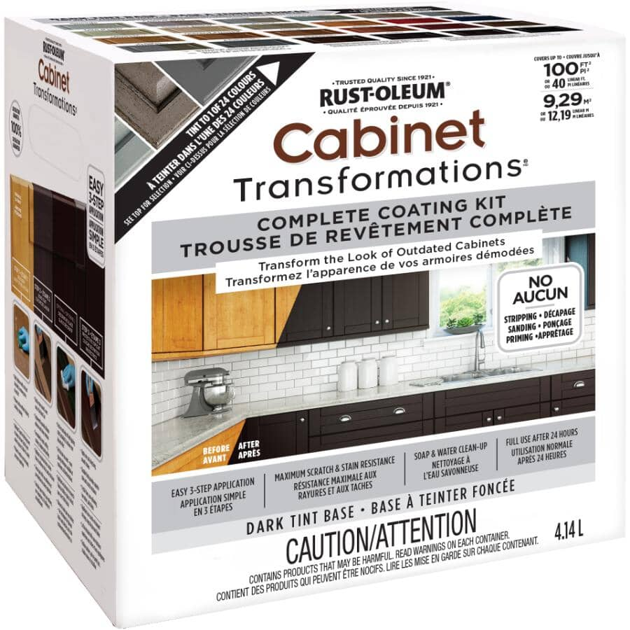 RUST-OLEUM:Cabinet Transformations Complete Coating Kit - Dark Tint Base, 4.14 L