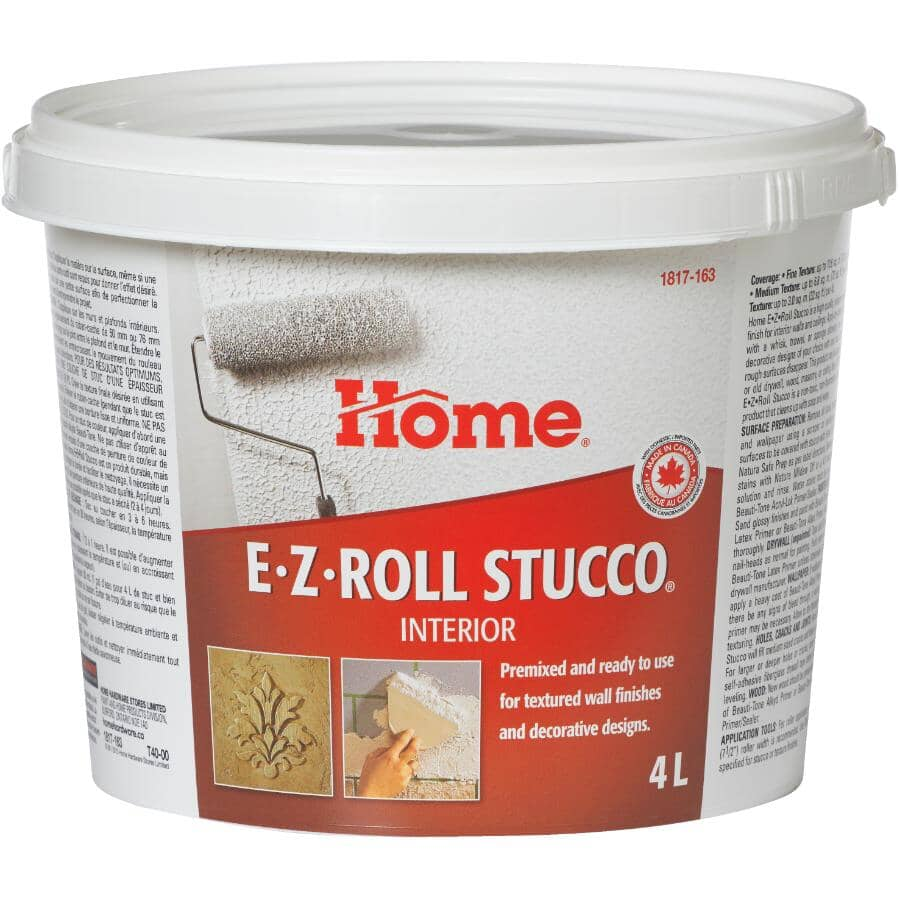 HOME:Interior E-Z Roll Stucco Wall & Ceiling Texture - White, 4 L