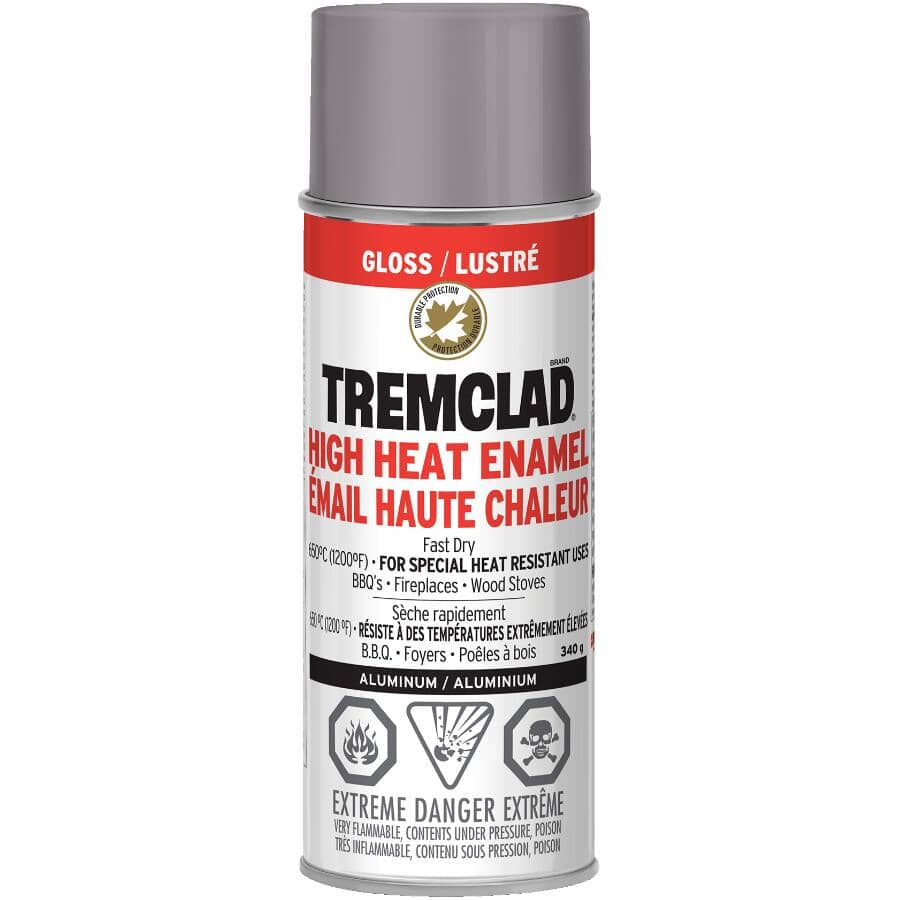 TREMCLAD:High Heat Enamel Spray Paint - Gloss Aluminum, 340 g