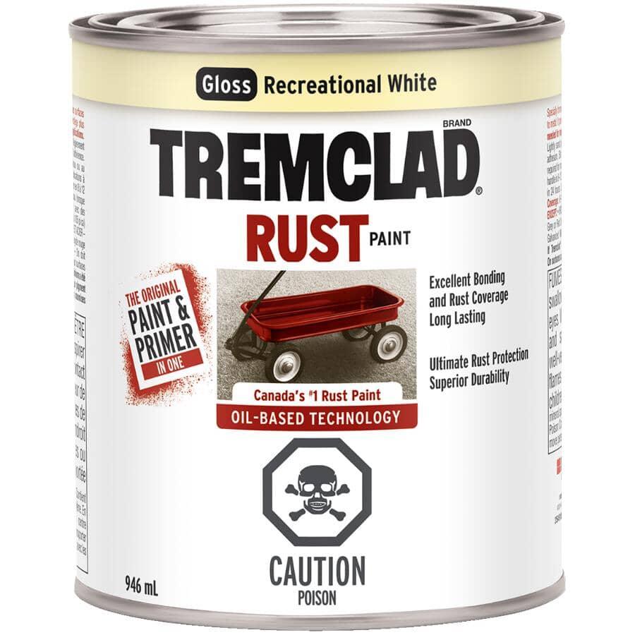 TREMCLAD:Rust Paint - Gloss Recreational White, 946 ml