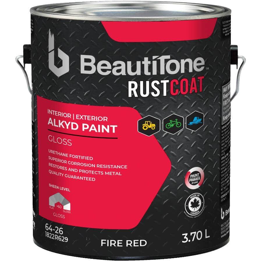 BEAUTI-TONE RUST COAT:Peinture antirouille à l'alkyde, fini lustré, rouge pompier, 3,7 L