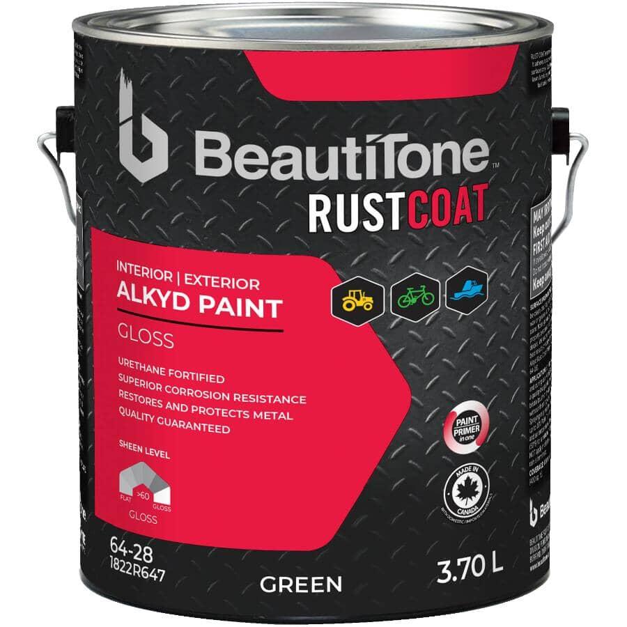 BEAUTI-TONE RUST COAT:Peinture antirouille à l'alkyde, lustré, vert, 3,7 L