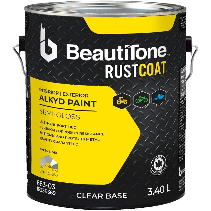 BEAUTI-TONE RUST COAT:Alkyd Rust Paint - Semi-Gloss Clear Base, 3.4 L