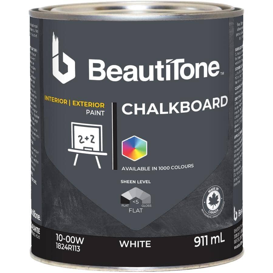 BEAUTI-TONE:Interior / Exterior Chalkboard Paint - White Base, 911 ml
