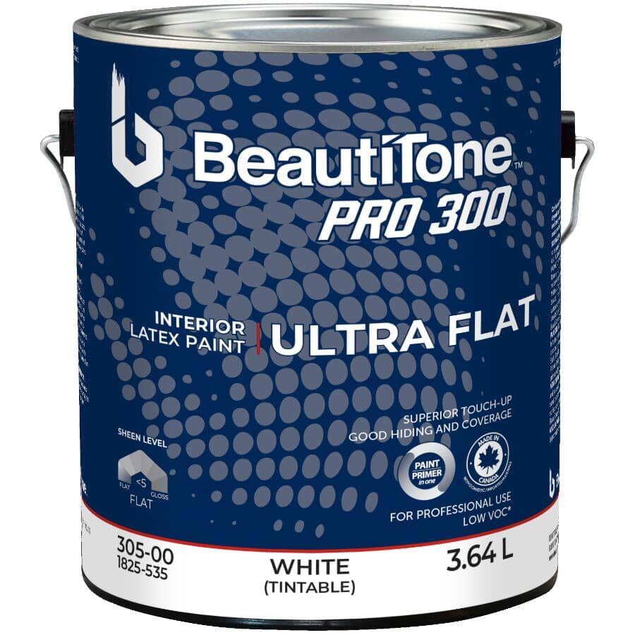 BEAUTI-TONE PROFESSIONAL:Peinture de retouche d'intérieur au latex Pro 300 au fini ultra mat, blanc, 3,64 L