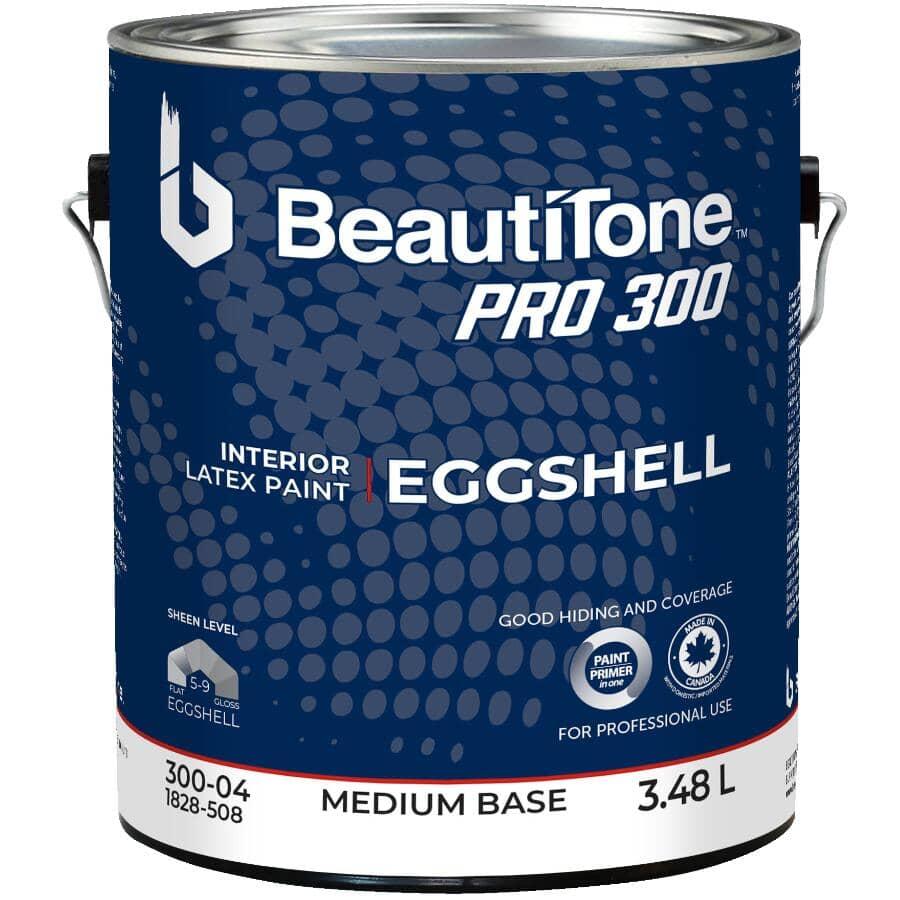 BEAUTI-TONE PROFESSIONAL:Peinture d'intérieur émail au latex Pro 300 coquille d'oeuf, base moyenne, 3,48 L