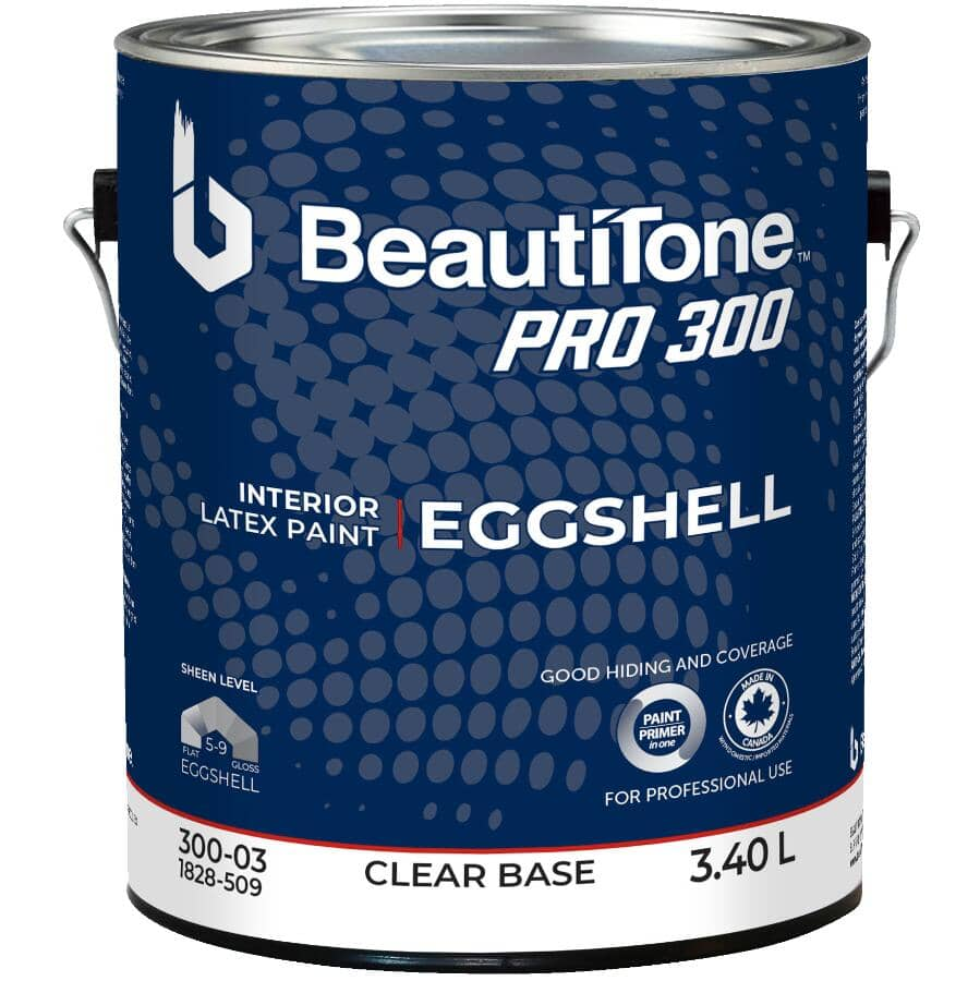 BEAUTI-TONE PROFESSIONAL:Pro 300 Interior Latex Enamel Eggshell Paint - Clear Base, 3.4 L