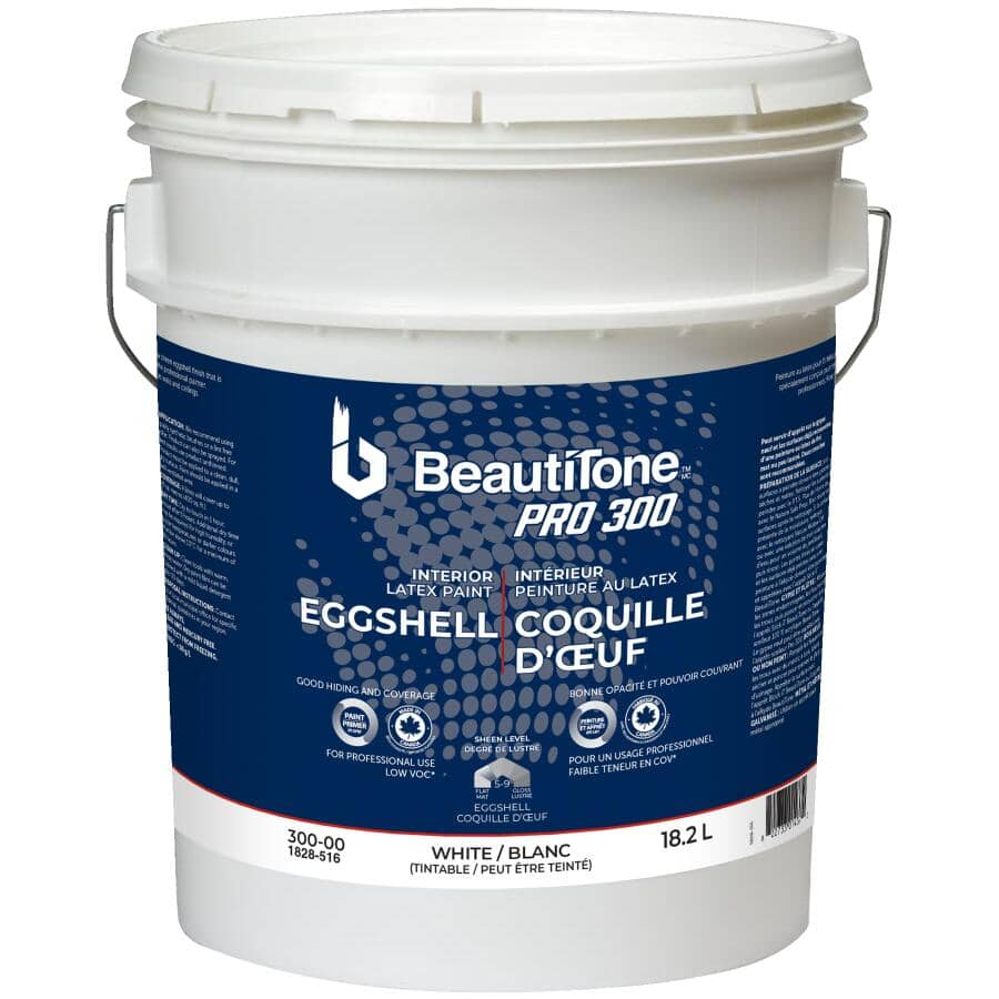 BEAUTI-TONE PROFESSIONAL:Pro 300 Interior Latex Enamel Eggshell Paint - High Hide White, 18.2 L