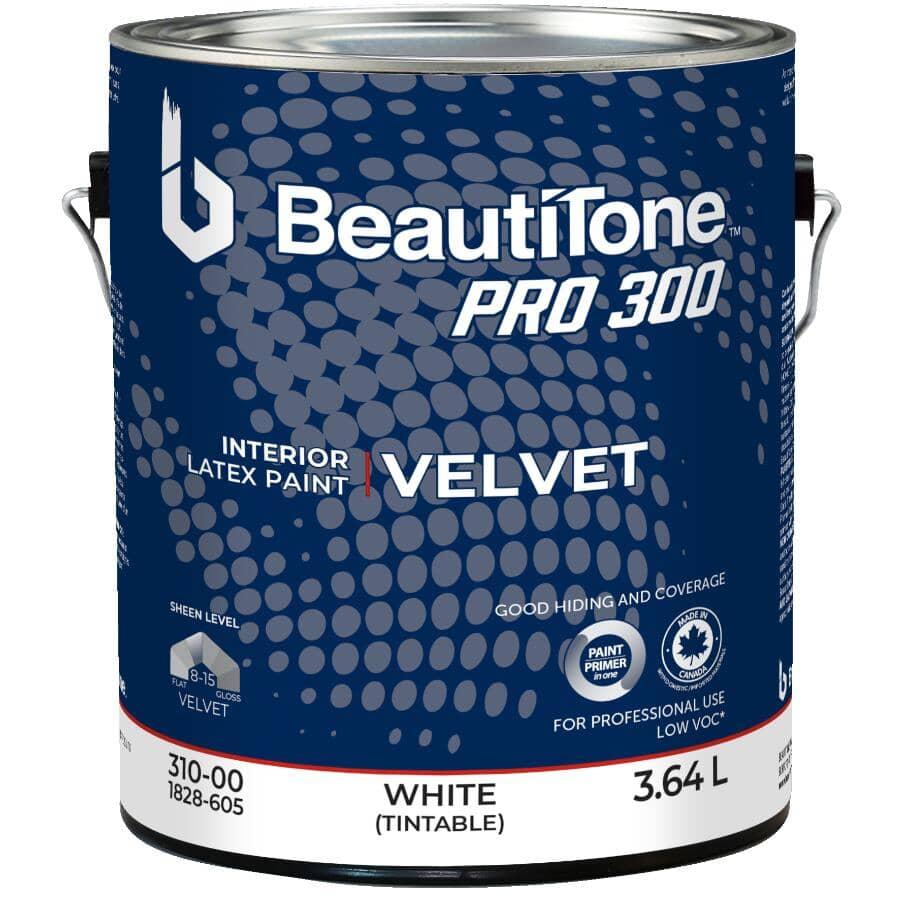 BEAUTI-TONE PROFESSIONAL:Peinture d'intérieur au latex et acrylique fini velouté Pro 300, blanc à teindre, 3,64 L
