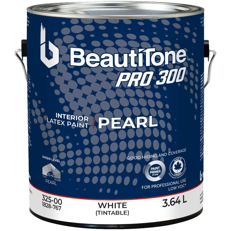 BEAUTI-TONE PROFESSIONAL:Pro 300 Interior Latex Enamel Pearl Paint - Tintable White, 3.64 L