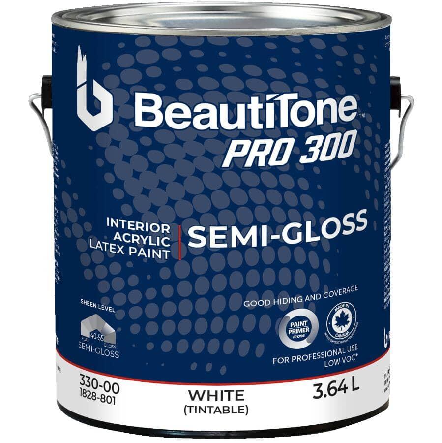 BEAUTI-TONE PROFESSIONAL:Peinture d'intérieur au latex et acrylique fini semi-lustré Pro 300, blanc, 3,64 L